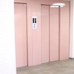 朝日白山マンションのエレベーターホール、エレベーター内