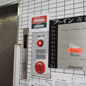ファイン青山のエレベーターホール、エレベーター内