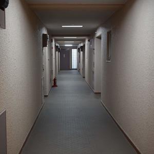 マンション第2恵比須苑(3階,4880万円)のフロア廊下(エレベーター降りてからお部屋まで)