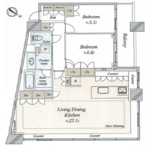 目黒区下目黒パークホームズ目黒ザレジデンス1億1200万円の間取り図
