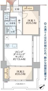 渋谷区恵比寿恵比寿ガーデン7180万円の間取り図