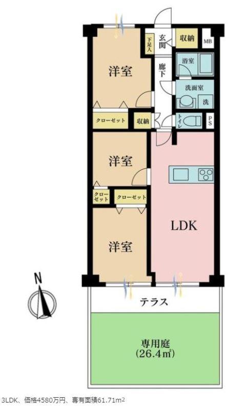 二子玉川ロイヤルマンション4580万円