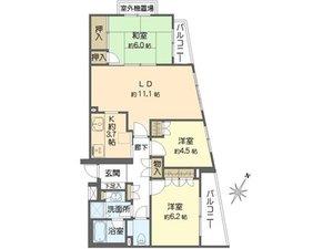 世田谷区野毛上野毛南パークホームズ4990万円の間取り図