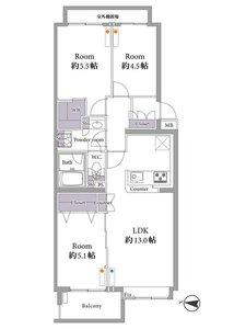 杉並区和泉明大前パークホームズ4699万円の間取り図