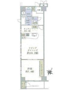 中央区築地グリーンパーク銀座デプレ5250万円の間取り図