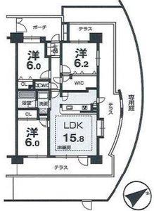 大田区西六郷クレストフォルム東京リバーコースト4398万円の間取り図