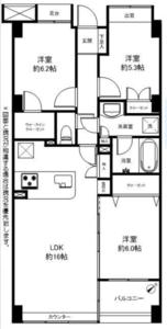 渋谷区本町ディオレ西新宿6980万円の間取り図