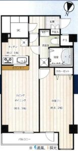 新宿区榎町スカイコート神楽坂参番館4590万円の間取り図