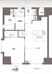 台東区三ノ輪朝日シティパリオ三ノ輪2880万円の間取り図
