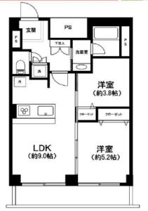 中央区新川越前堀永谷マンション3280万円の間取り図