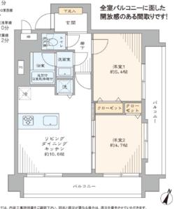 中央区日本橋箱崎町セブンスターマンション第2日本橋3580万円の間取り図