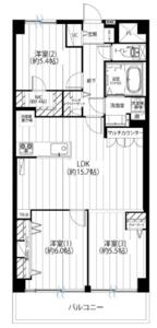 江東区枝川木場サニータウン1号棟3499万円の間取り図