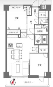 渋谷区幡ヶ谷ライオンズヴィアーレ幡ヶ谷4880万円の間取り図