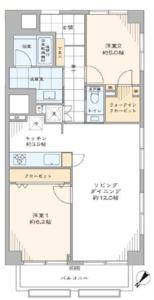 渋谷区猿楽町サンビューハイツ渋谷7380万円の間取り図