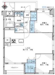墨田区太平コスモ錦糸町グランシティ4680万円の間取り図