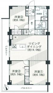 豊島区長崎椎名町マンション3490万円の間取り図