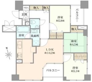 中野区中野ルイシャトレ中野4680万円の間取り図