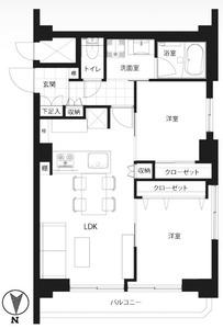 新宿区南元町ベラビスタ信濃町3980万円の間取り図