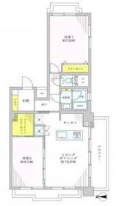 中野区中央鍋屋横丁住宅の間取り図