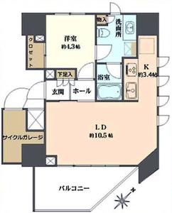 渋谷区千駄ヶ谷ヴァントヌーベル代々木7480万円の間取り図
