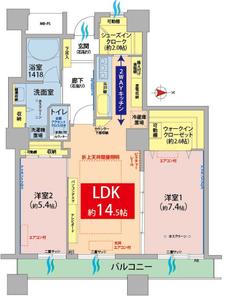 新宿区百人町西戸山タワーホウムズノースタワーの間取り図
