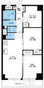 江東区亀戸サンハイツ亀戸3390万円の間取り図