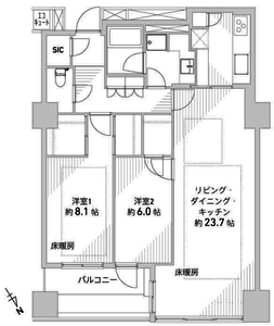 渋谷区神宮前パークコート神宮前の間取り図