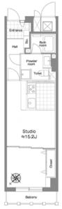 渋谷区神宮前パークノヴァ神宮前4480万円の間取り図