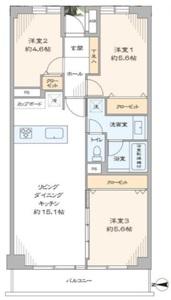 江東区森下東建ニューハイツ元加賀4580万円の間取り図