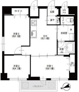 台東区西浅草カーサ田原町4190万円の間取り図