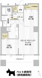 新宿区西早稲田西早稲田シティタワー5980万円の間取り図