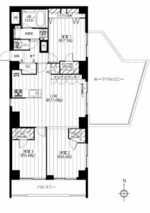 新宿区原町牛込ハイマンションの間取り図