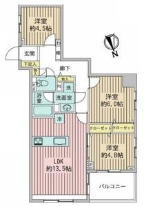 台東区西浅草プリムローズ浅草ウエスト5480万円の間取り図
