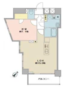 新宿区西新宿フィールM西新宿4490万円の間取り図