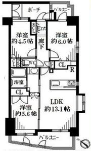 新宿区西早稲田グランシティ早稲田5180万円の間取り図