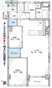 新宿区弁天町牛込中央マンションの間取り図