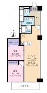 中野区東中野宮園キャピタルマンション3490万円の間取り図