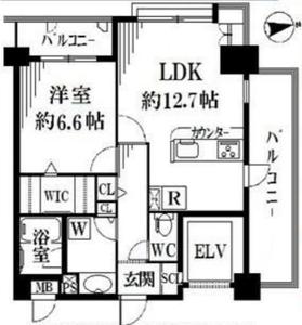 新宿区赤城下町グランシャリオ神楽坂の間取り図