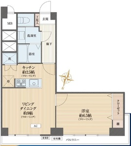 中央区築地秀和築地レジデンス3680万円の間取り図