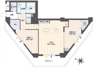 新宿区新宿戸山マンション4299万円の間取り図