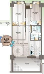 新宿区西落合ライオンズガーデン哲学堂4580万円の間取り図