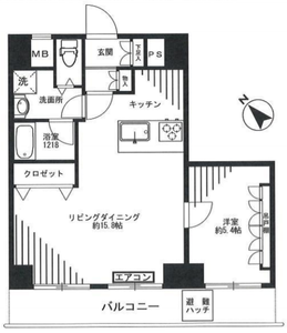 豊島区東池袋スカイコート池袋第22980万円の間取り図