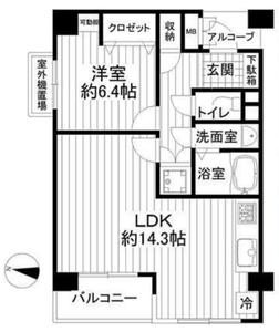 新宿区西早稲田フォレステージ西早稲田3580万円の間取り図