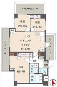 江東区亀戸レヴィ亀戸5090万円の間取り図