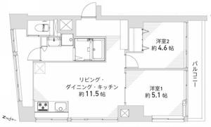 渋谷区千駄ヶ谷第8宮庭マンション3799万円の間取り図