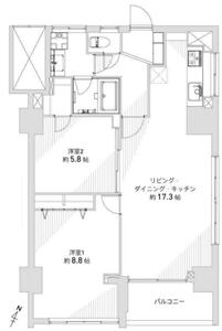 目黒区下目黒目黒グランドマンション5180万円の間取り図