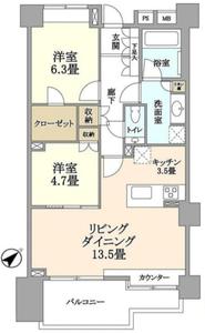 渋谷区東藤和渋谷常磐松ホームズ7580万円の間取り図