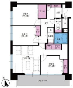新宿区下落合落合マンション4390万円の間取り図