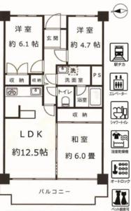 世田谷区上北沢メイゾン上北沢3980万円の間取り図