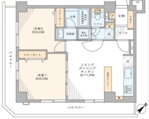 中央区日本橋小網町ヴェラハイツ日本橋の間取り図